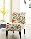Honnary Curve Back Fabric Accent Chair, Floral