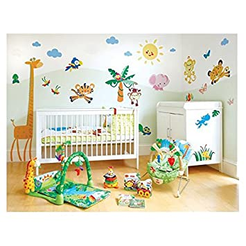 Pack fisher price de stickers jungle deco soon amazon - Decoration chambre bebe jungle ...