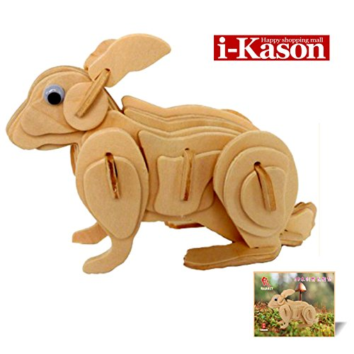 Authentic High Quality i-Kason® New Favorable Imaginative DIY 3D Simulation Model Wooden Puzzle Kit for Children and Adults Artistic Wooden Toys for Children - Rabbit