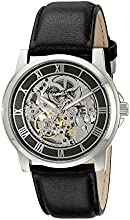 Kenneth Cole New York Men's KC1514 Automatic Skeleton Dial Black Leather Strap