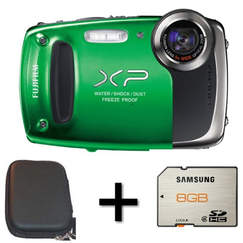 Fujifilm FinePix XP50 Green + Case and 8GB Memory Card(14MP, 5x Optical Zoom) 2.7 inch LCD