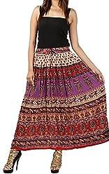 FEMEZONE Skirt Women's Cotton Regular Fit Rayon and Crepe Skirt (RED, XXL)
