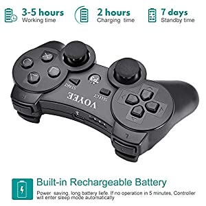 VOYEE PS3 Controller, Upgraded PS3 Wireless Controller for Sony Playstation 3 Black - 2 Pack (Color: 2 Black)
