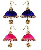 pink blue silk thread jhumki earrings(double string) - two set (RK-PNK-BLU-SLK-ERNG1)