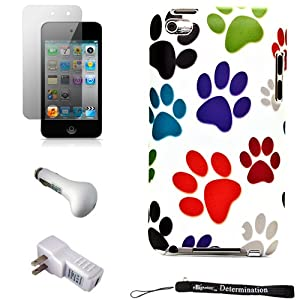 Color Dog Paws Design Cover / 2 Piece Snap On Case for New Apple iPod Touch 4 ( 4th Generation 8GB 16GB 32GB ) + Includes Anti Glare Screen Protector Guard + Includes a USB Travel Car Charger and a USB Home Charger