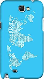 Kasemantra World Map In Cyan Case For Samsung Galaxy Note 2 N7100