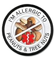ALLERGIC TREE NUTS and PEANUTS Medical Alert 2.5 inch Black Rim Sew-on Patch from Creative Clam