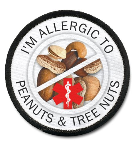 allergic-tree-nuts-and-peanuts-medical-alert-25-inch-black-rim-sew-on-patch