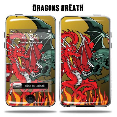 Apple iPod Touch Protective Vinyl Skin 2G 3G 2nd 3rd Generation 8GB 16GB 32GB - Dragon Breath