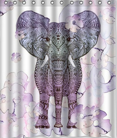 "Elephant Polyester Shower Curtain 60"" X 72"" Decorative Design Fabric back-524149"