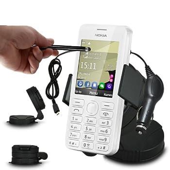 Fone-Case Acer Liquid C1 En voiture Mini rotation de 360 ??Pare-brise Support Cradle Mont téléphone mobile avec 12V Micro USB Chargeur Voiture & capacitif Stylet en aluminium
