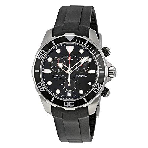 Certina Men's DS Action 43mm Black Polyurethane Band Steel Case Quartz Analog Watch C032.417.17.051.00
