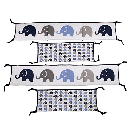 Bacati - Elephants Blue/grey Bumper Pad