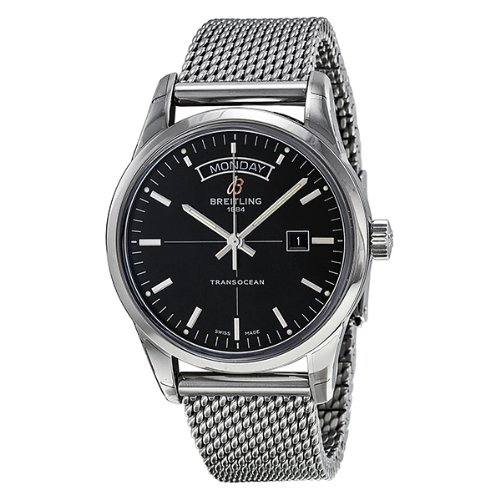 Breitling Transocean Day & Date Automatic Black Dial Stainless Steel Mens Watch A4531012-BB69SS