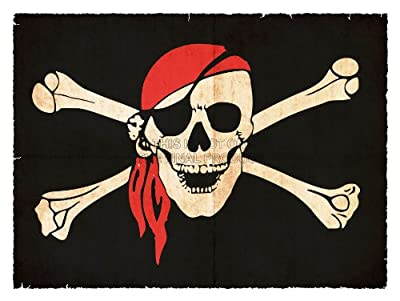PAINTING JOLLY ROGER FLAG CROSSBONES SKULL PIRATE SHIP 30x40 cms POSTER PRINT BMP11175 by FineArtPrints