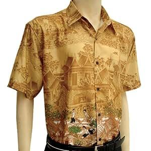 Men 39 s short sleeve thai silk hawaiian shirt xxl size for Mens silk shirts amazon