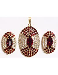 Maroon And White Stone Studded Round Shaped Pendant And Earrings - Stone And Metal