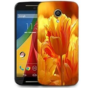 Snoogg Orange Tulips Designer Protective Phone Back Case Cover For Motorola G 2nd Genration / Moto G 2nd Gen