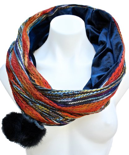 Terra Nomad Women'S Velvet Lined Snood Infinity Loop Fashion Scarf W/ Pom Poms - Orange/Vintage Blue