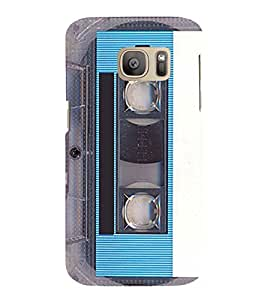 Vintage Blue Cassette 3D Hard Polycarbonate Designer Back Case Cover for Samsung Galaxy S7 :: Samsung Galaxy S7 Duos G930F