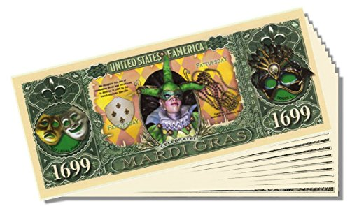 Mardi Gras Celebration Bill - 25 Count with Bonus Clear Protector & Christopher Columbus Bill