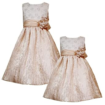 Size-6 RRE-40830H METALLIC-GOLD FOIL DOT FLORAL EMBROIDERED CRINKLE SKIRT Special Occasion Flower Girl Holiday Party Dress,H740830 Rare Editions GIRLS