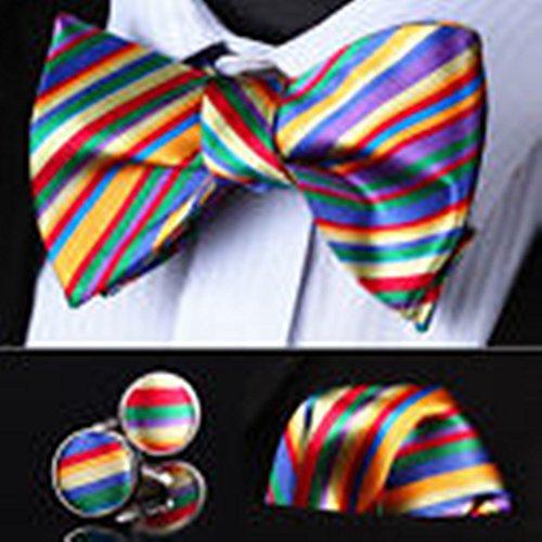 Mondaily DL02G Green Red Blue Striped Men Silk Self Bow Tie handkerchief Cufflinks set #PPTE4399