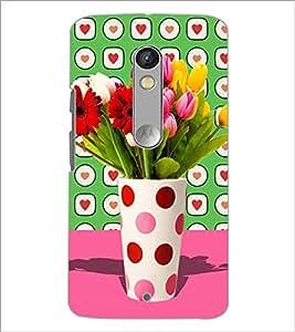 PrintDhaba Flower Vass D-2795 Back Case Cover for MOTOROLA MOTO X PLAY (Multi-Coloured)