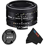 Nikon 50mm f/1.8D Auto Focus Lens - International Version (No Warranty) for D3000, D3100, D3200, D4, D4S, D5000, D5100, D5200, D5300, D600, D610, D700, D7000, D7100, D800, D800E, D810, D90 DSLR Cameras + PixiBytes Exclusive Microfiber Cleaning Cloth - Fixed