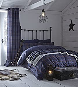 Angus 66x72 Navy Check Ring Top Lined Curtains #eocnelg *tur*