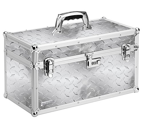 Vaultz Locking Tool Box, 10.75 x 10 x 19.75 Inches, Silver Treadplate (VZ00714) (Toolbox Briefcase compare prices)