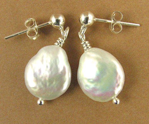 pearl-earrings-coin-disc-button-shape-sterling-silver-dangle-with-studs-handmade