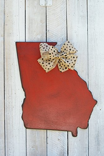 "Antique Red Georgia State Door Hanger with Black Polka Dot Burlap Bow. 26"" H By 20.5"" W."