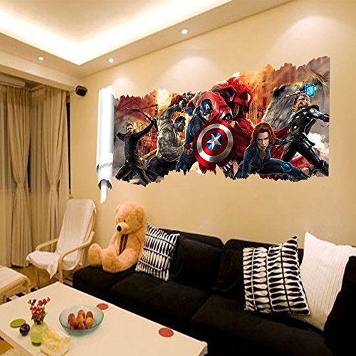 wall decals for kids rooms boys skateboard : DC Comics Marvel The Avengers Wall Sticker Team Hulk Decal Decoration Wallpaper (Marvel Decal compare prices)