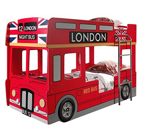 Vipack SCBBLB London Bus Lit Superposé MDF Rouge 215 x 96 x 132 cm