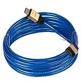 ORICO HB-1430 Cable HDMI 1.4 de alta velocidad (macho-macho, 3 m, con Ethernet, compatible con 3D y Full HD 1080 p), Blau PVC transparente