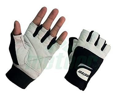 Leather Weight Lifting Gloves White Padded Large from Meteor
