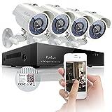 Sistema de cámaras de seguridad de vigilancia Funlux 8 canales, vista rápida, 960H DVR, 4 cámaras infrarrojas 700TVL, resistentes al agua, alta resolución de salida.