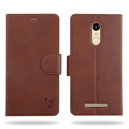 Cool Mango Compact Flip Cover for Xiaomi Redmi Note 3 - 100% Premium Faux Leather Flip Case for Xiaomi Redmi Note 3 with 360 Degree Stitching, Magnetic Lock, Card Currency Slot (Mocha Brown)