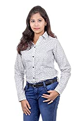 Juee Women's Printed Casual Shirt (JU103SY1FLWHT) (Large)