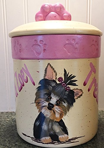 Personalized Yorkshire Yorkie Terrier Dog Cat Pet Treat Cookie Jar (Personalized Dog Treat Jar compare prices)