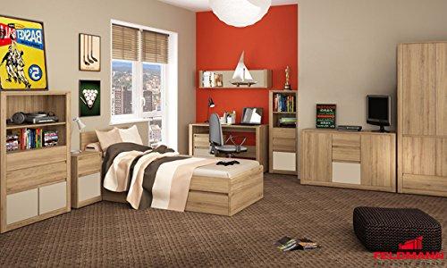 Jugendzimmer Kinderzimmer 17801 komplett 9-teilig wildeiche – Farbe Frontapplikation wählbar (vanille) jetzt kaufen