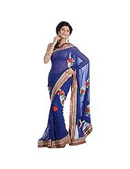 Arihant Collections Cotton Gota Pati Blue Saree With Blouse Piece