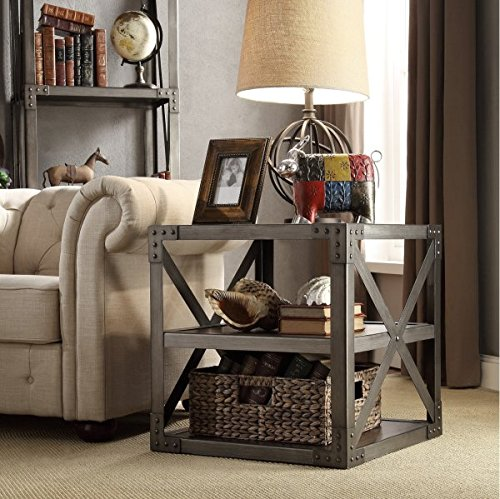 INSPIRE Q Sedgwick Living Room Vintage Industrial Modern Metal Bracket End Table And Coffee Table