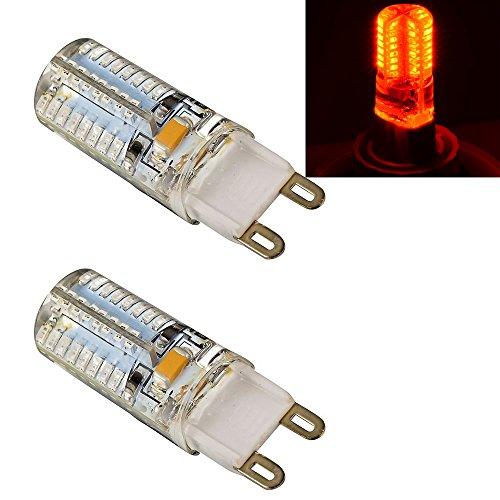 Ljy 2Pcs Pack G9 3014 Smd 64-Led 3W Red Light Led Crystal Bulbs 360 Degrees Energy Saving Capsule Spotlight Lamps Ac 110V
