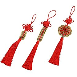 Odishabazaar Chinese Red Enless Knot Feng Shui Lucky Coins for Wealth and Good Fortune- set of 3