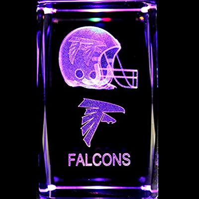 Atlanta Falcons 3D Laser Etched Crystal + Rotating Display Light Base with 7 Multi Color LED's
