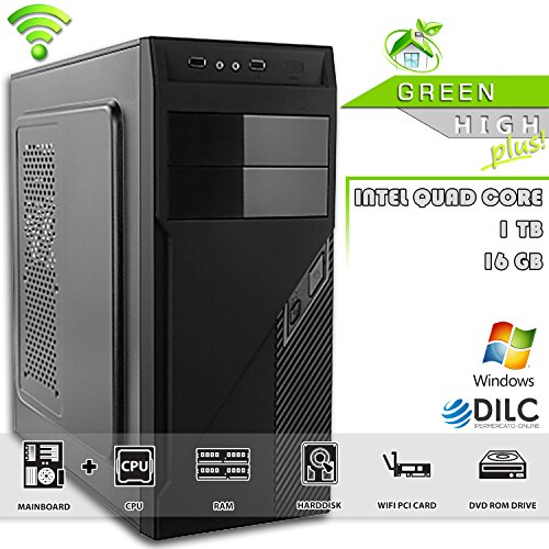 PC DESKTOP ASSEMBLATO COMPLETO ▪ DILC GREEN HIGH PLUS ▪ COMPUTER FISSO Intel QUAD CORE 2 GHZ ▪ RAM 16 GB ▪ Hard Disk 1 TB ▪ DVD-RW ▪ WIFI ▪ 500W ▪ SISTEMA OPERATIVO WINDOWS
