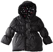 Pink Platinum Girls Tonal Heart Printed Hooded Puffer Jacket - Black (Size 3T)