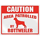 "New "" Caution : Area Patrolled By Rottweiler "" Parking Sign Dog"